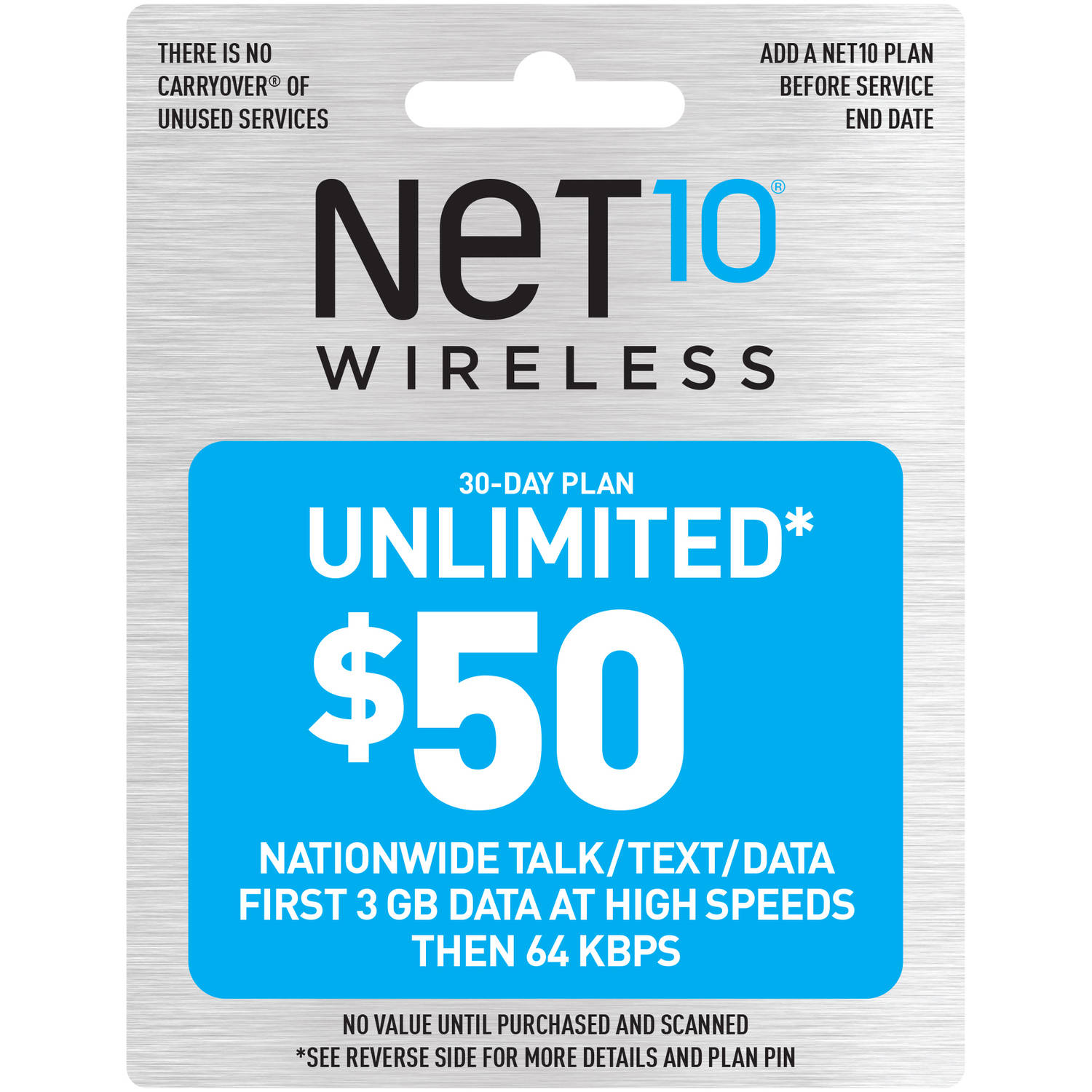 (Email Delivery) NET10 $50 Prepaid Card, 30-day monthly plan unlimited, talk, text, web/email, 411
