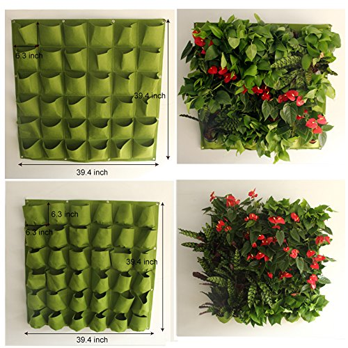 Mr. Garden Vertical Garden Grow Bag, Wall Hanging Planter Bag (36, green)