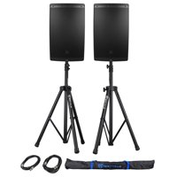 "2) JBL EON615 15"" 2000 Watt Powered DJ PA Speakers w/Bluetooth+Stands+Cables+Bag"