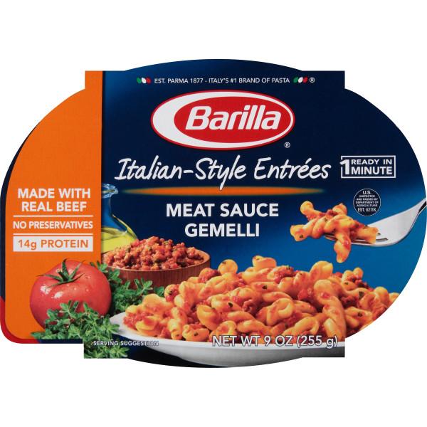 Barilla Italian Entrees, Meat Sauce Gemelli, 9 oz Bowl
