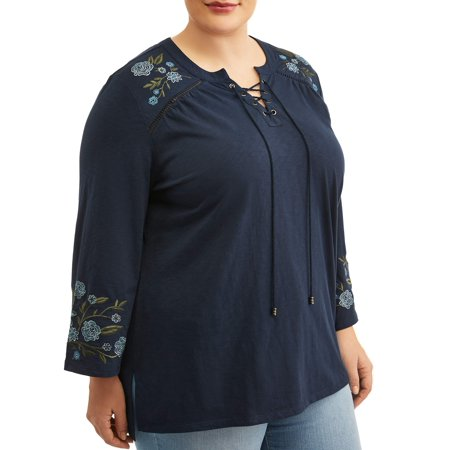 Chamber Plush Top (Women's Plus Size Embroidered Peasant Top )