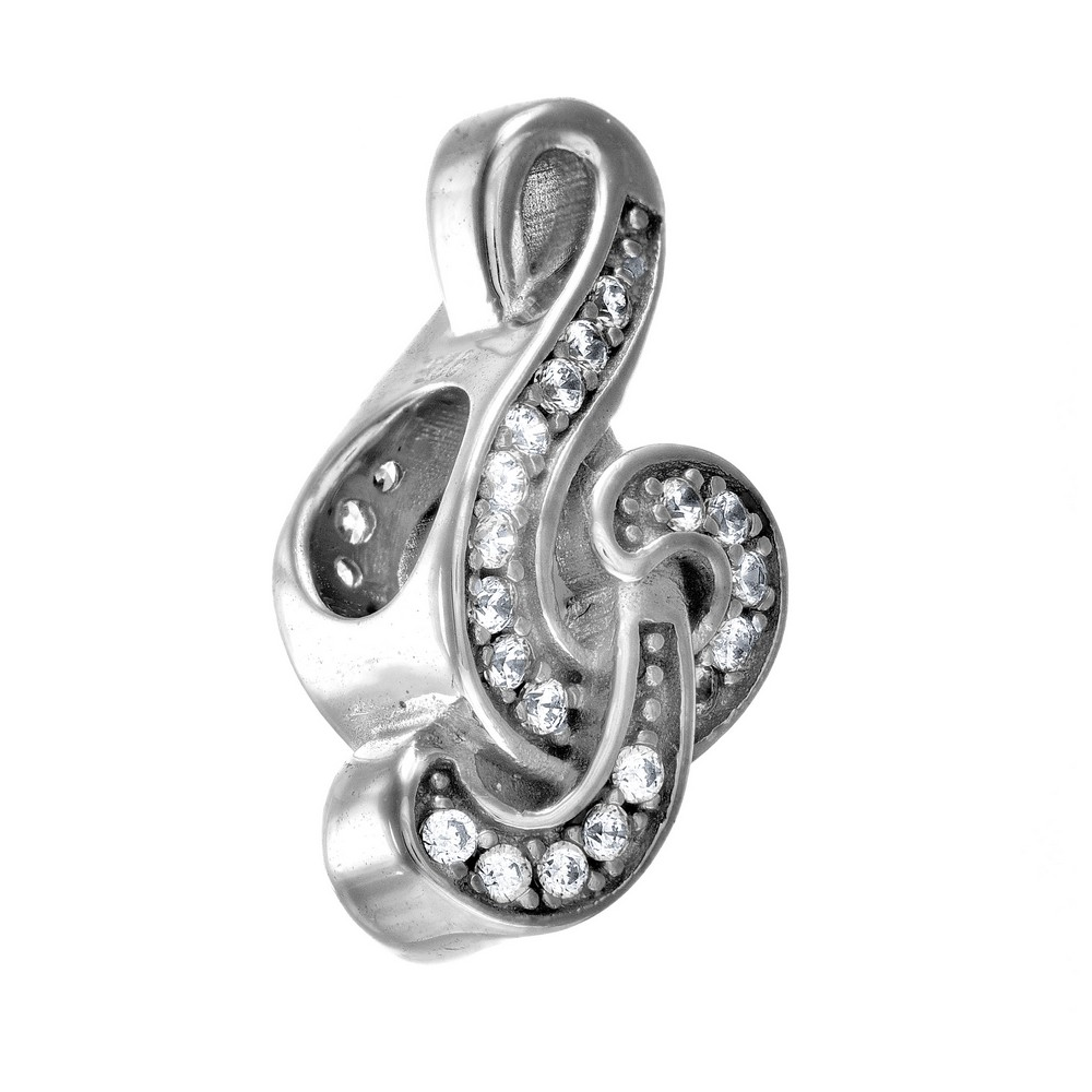 Sterling Silver With Rhodium Finish Shiny Musical Note Bead - Crystal CZ Personality Bead
