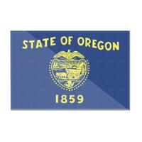 Oregon State Flag - Letterpress - Lantern Press Artwork (12x8 Acrylic Wall Art Gallery Quality)