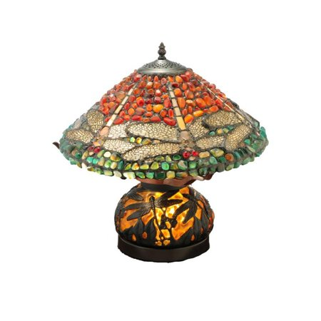 Dragonfly Lighted Base Table Lamp (Meyda 16.5-inch Dragonfly Polished Jasper with Lighted Base Table)
