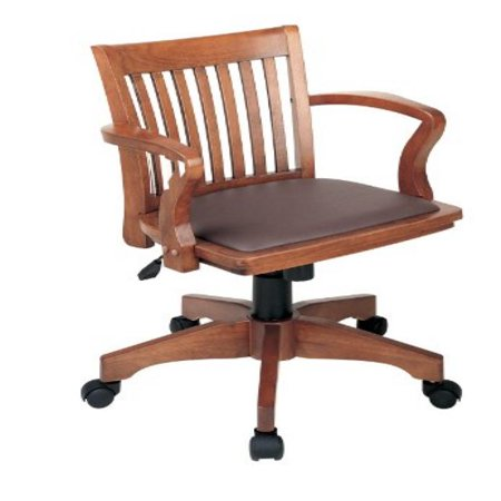office star deluxe wood bankers desk chair with brown vinyl padded