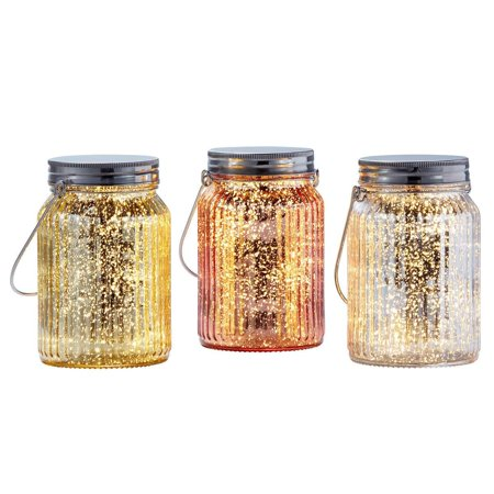 Inside Outside Garden Set of 3 Glass Jars with Mini LED Lights, Gold WM