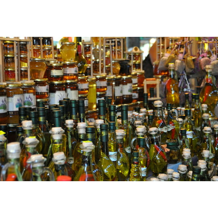 LAMINATED POSTER Olive Oil Market Bottles Still Life Honey Poster Print 11 x 17