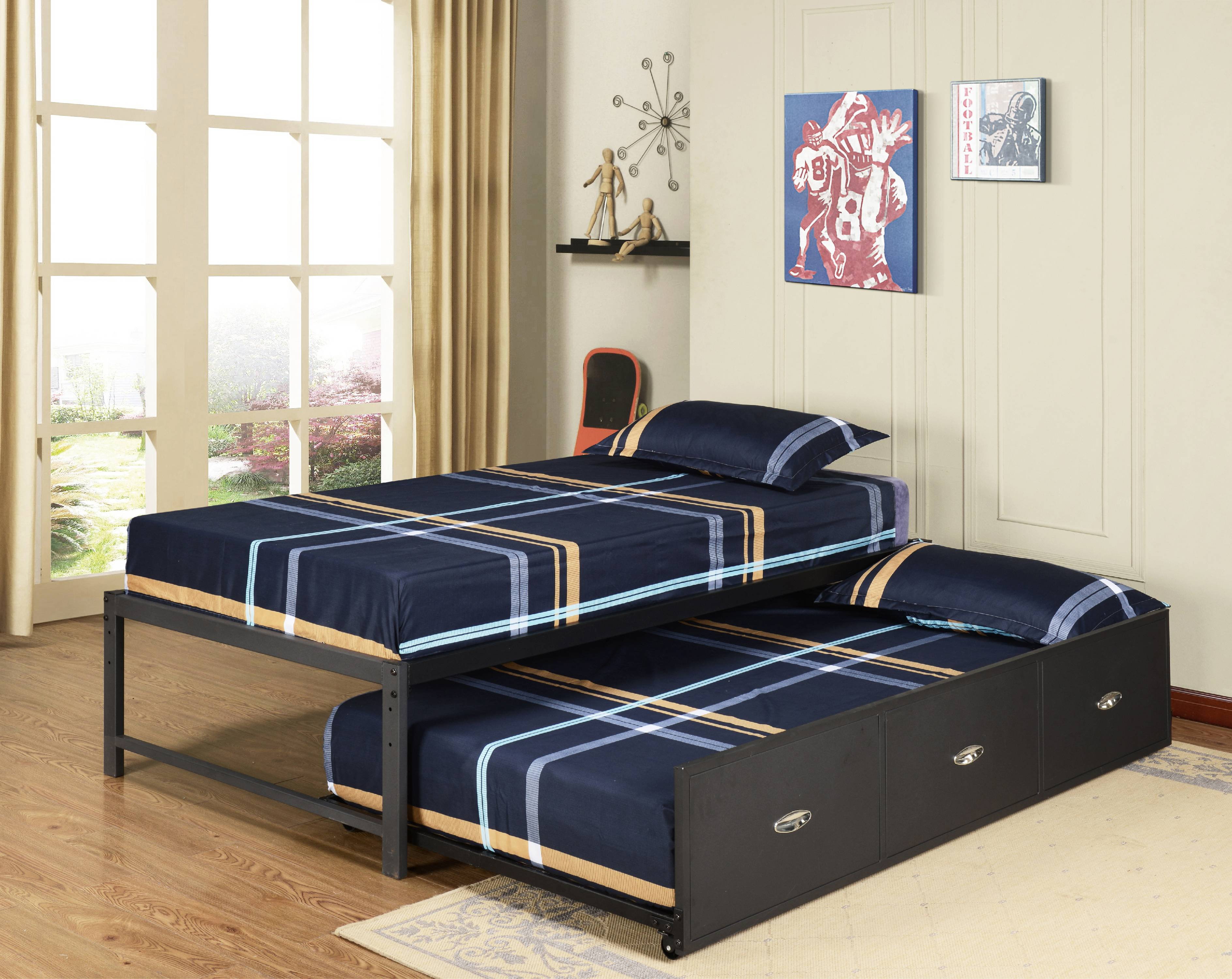 "Archer 39"" Twin Size Black Metal Day Bed Frame With Drawer Roll-Out Trundle (Twin Day Bed & Trundle) by Pilaster Designs"