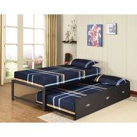 "Archer 17""H Platform Daybed Bed Frame With Drawer Roll-Out Trundle Set, Black Metal, Twin, (Headboard, Footboard, Rails & 13 Slats)"