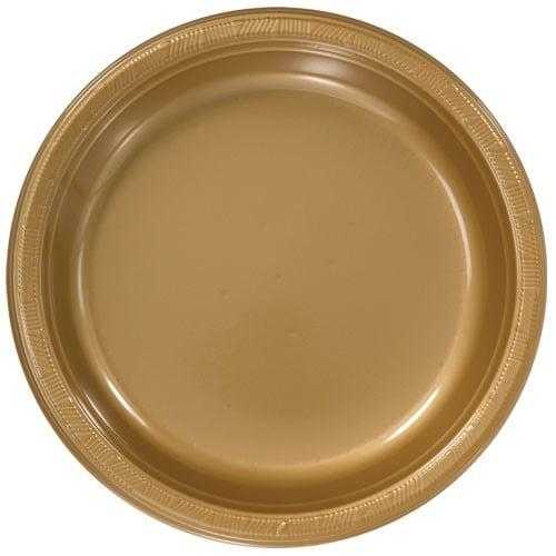 "Hanna K Plasticware Plastic Plate, Round, 10"", Gold, 50 Ct"