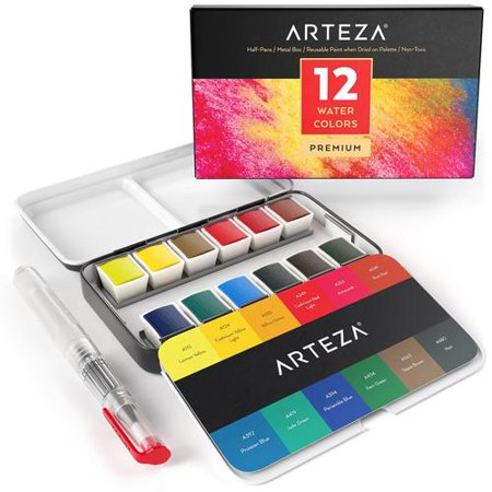 Water Color Set (ARTEZA Watercolor Paint, Set of 12 Assorted Vibrant Colors in Half Pans (in Tin Box) with Water Brush Pen for Artists, Art Painting, Ideal for Watercolor)