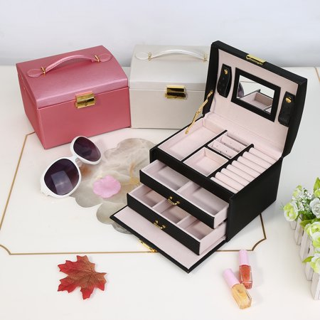3-Layer Travel Jewelry Case Ring Storage Earring Jewelry Box Organizer with Lock Key and Mirror for Women(black)