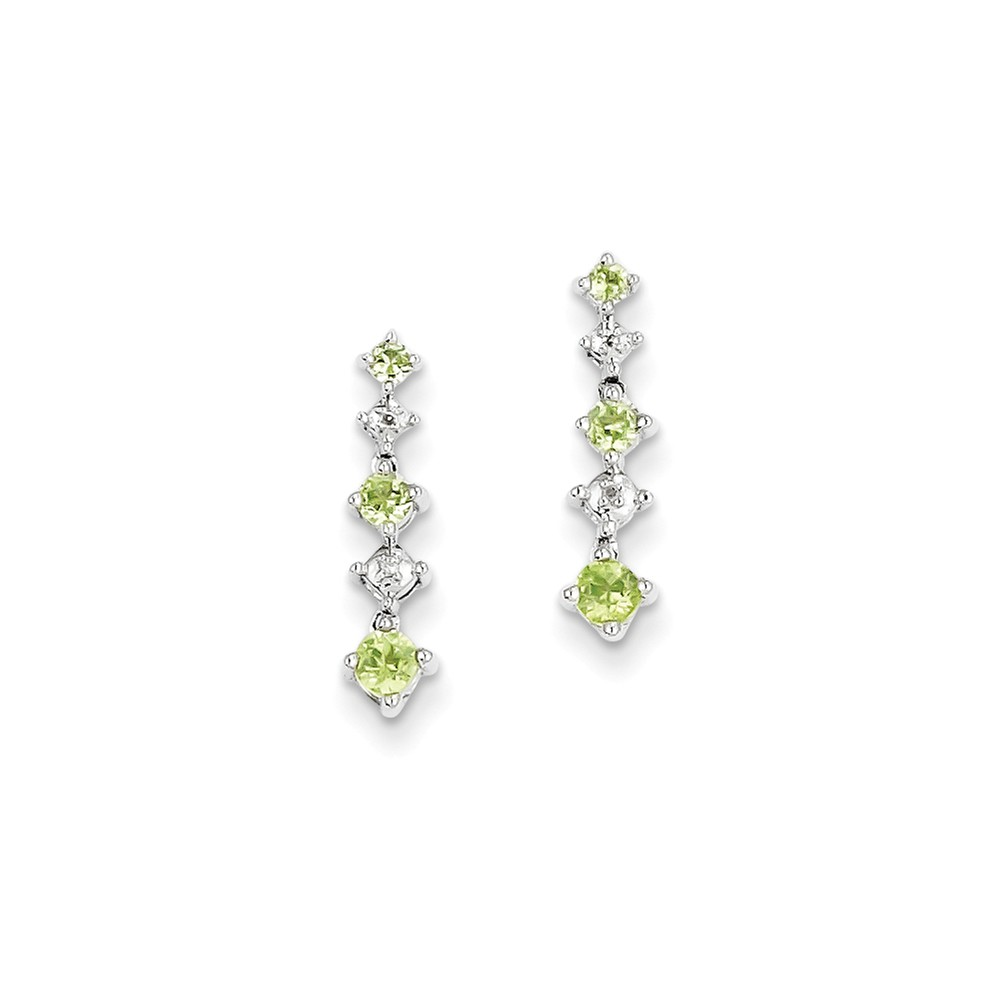 Sterling Silver 0.6IN Long Peridot Diamond Earrings