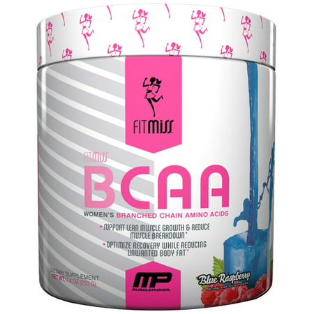 FitMiss BCAA Women's BCAA Powder, Blue Raspberry, 30