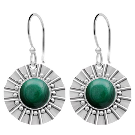 Malachite White Earrings (8 1/2 Carat Malachite 925 Sterling Silver Dangle Earrings)