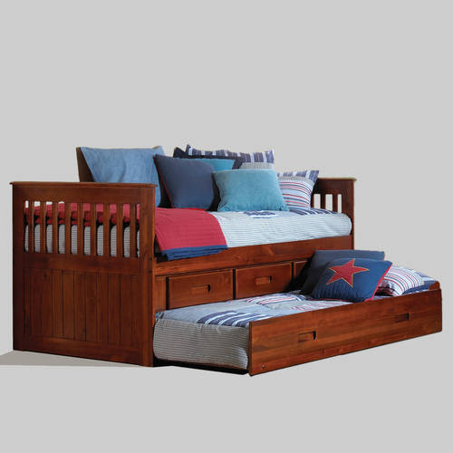 American Furniture Classics Twin Rake Bed with Trundle and 3 drawers in merlot finish.