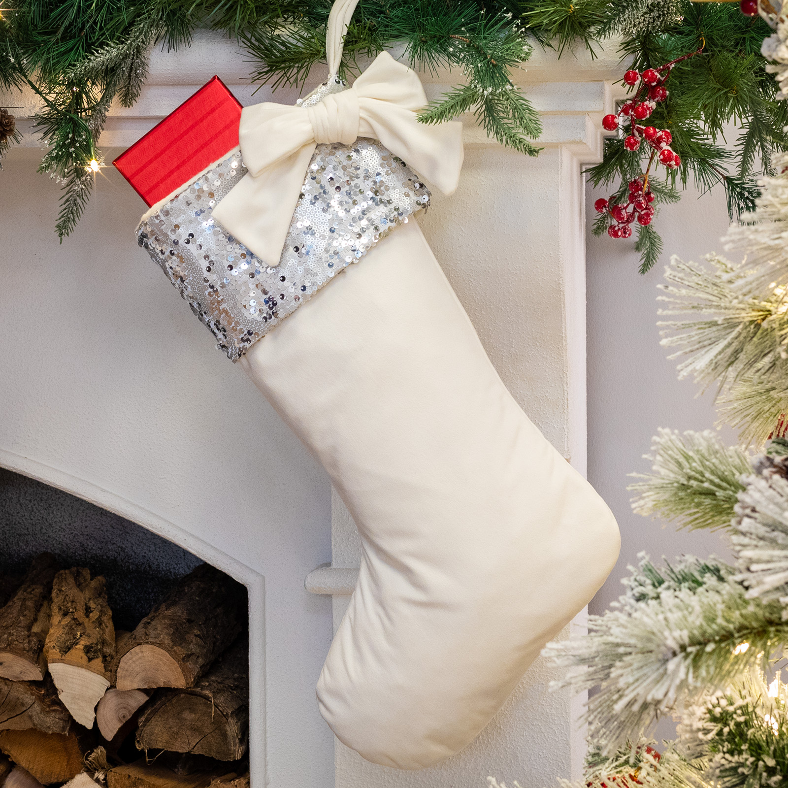Belham Living Glitter Trim White Velvet Christmas Stocking, 18.5""
