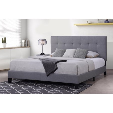 King Bed Frame with Headboard, URHOMEPRO Modern Platform Bed Frame for  California, Light Gray Heavy Duty Bed Frame with Wood Slat Support for  Adults ...