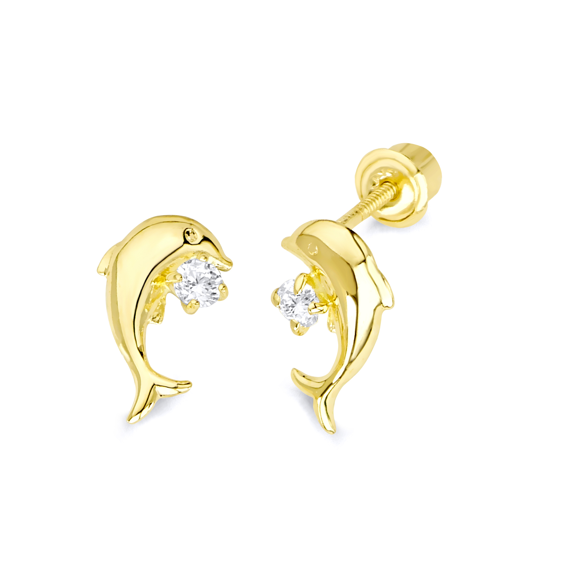 Wellingsale 14K Yellow Gold Polished Dolphin Stud Earrings With Screw Back
