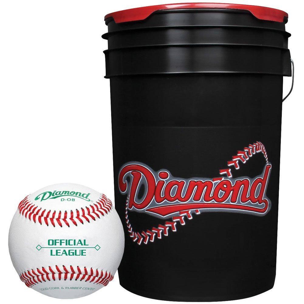 Click here to buy Diamond 6 Gallon Ball Bucket with 30 ODB Baseballs by Rawlings.