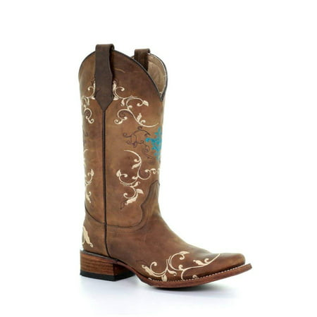 - Circle G New by Corral Women's L5353 Western Boot Tan Embroidery 8.5