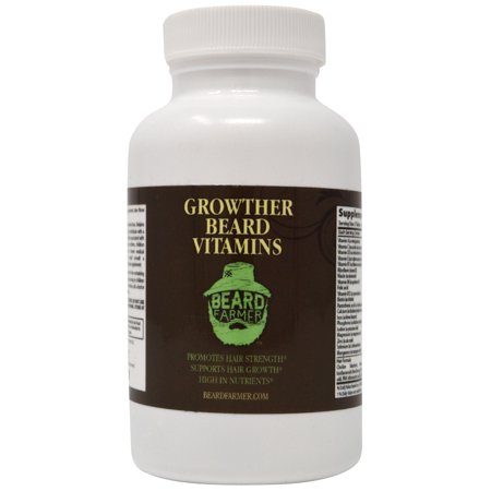 Growther Beard Vitamins by Beard Farmer | Thicker and Fuller Beard | #1 Selling Brand for Beard