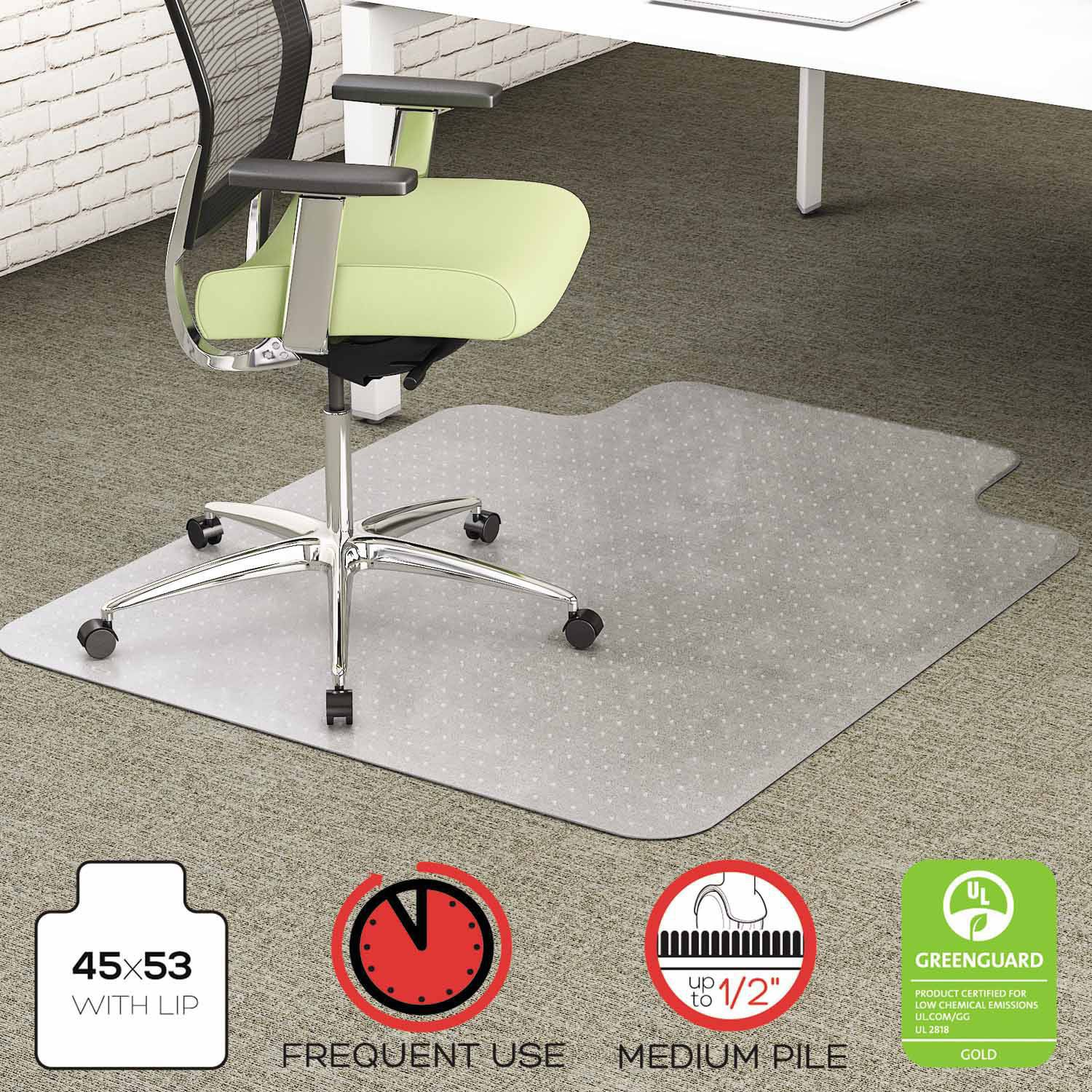 "deflecto EnvironMat Recycled Anytime Use Chair Mat, Med Pile Carpet, 45"" x 53"" with Lip, Clear"