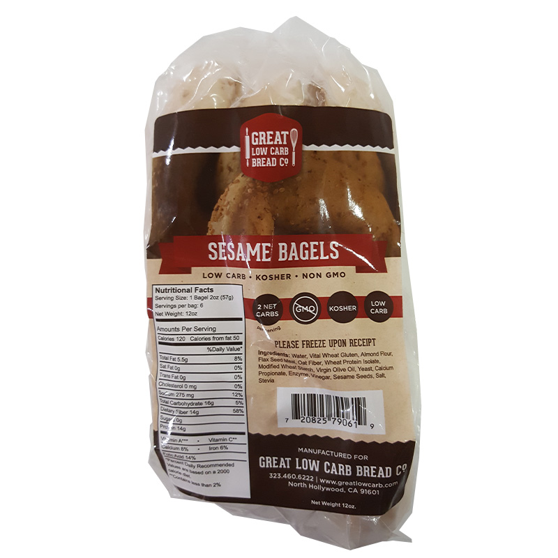 Great Low Carb Bread Company - 1 Net Carb, 16 oz, Sesame Bagel