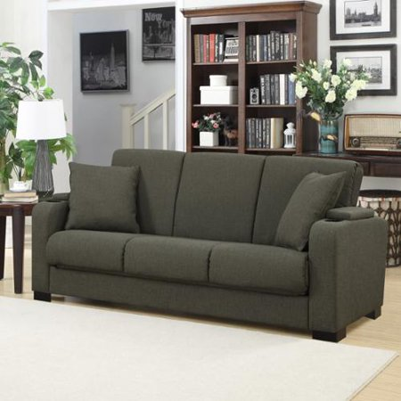 Handy Living Storage Arm Convert A Couch Basil Green Linen Futon Sleeper Sofa