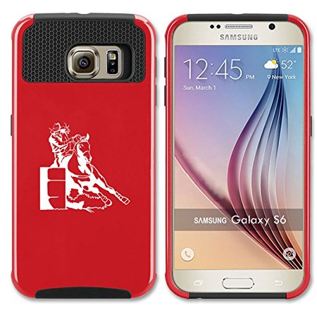 Samsung Galaxy S7 Shockproof Impact Hard Case Cover Female Barrel Racing Cowgirl (Red - Red Cowgirl