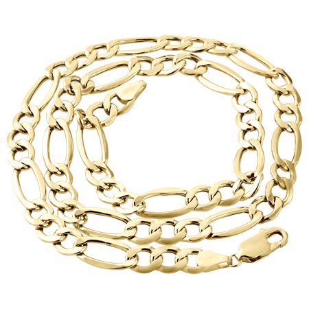 - Mens Real 10K Yellow Gold Figaro Chain 6.50mm Necklace High Polished 18 Inches