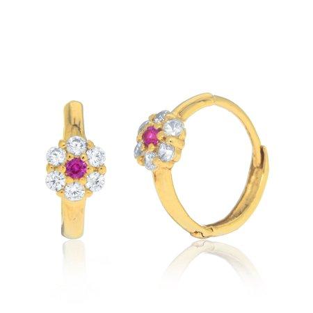 - 14k Yellow Gold CZ Red Ruby Baby Flower Huggie Hoop Earrings