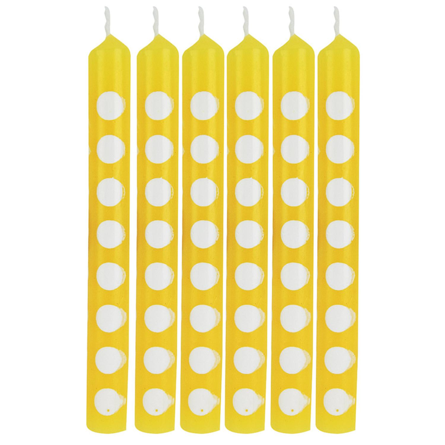 Club Pack of 72 Yellow and White Polka Dot Birthday Party Candles 4.5""