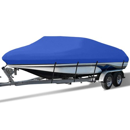 Waterproof Boat Cover All Seasons Outdoor Protector Aluminium Film Composite Cotton Fits V-Hull Quick Release Buckle Strap (Blue, Fit 17
