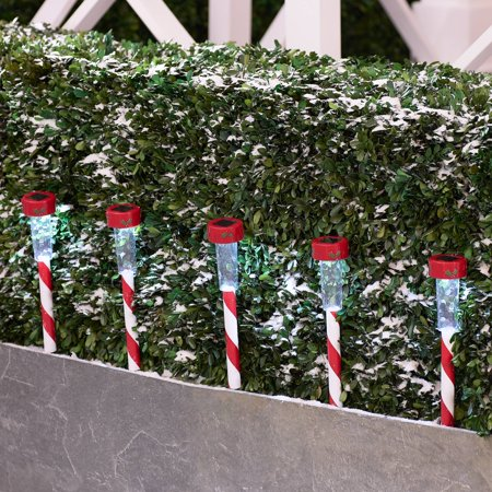 Holiday Time 12-Piece Solar Powered Lawn Stake Christmas Light Set, 15.7 inches height ()