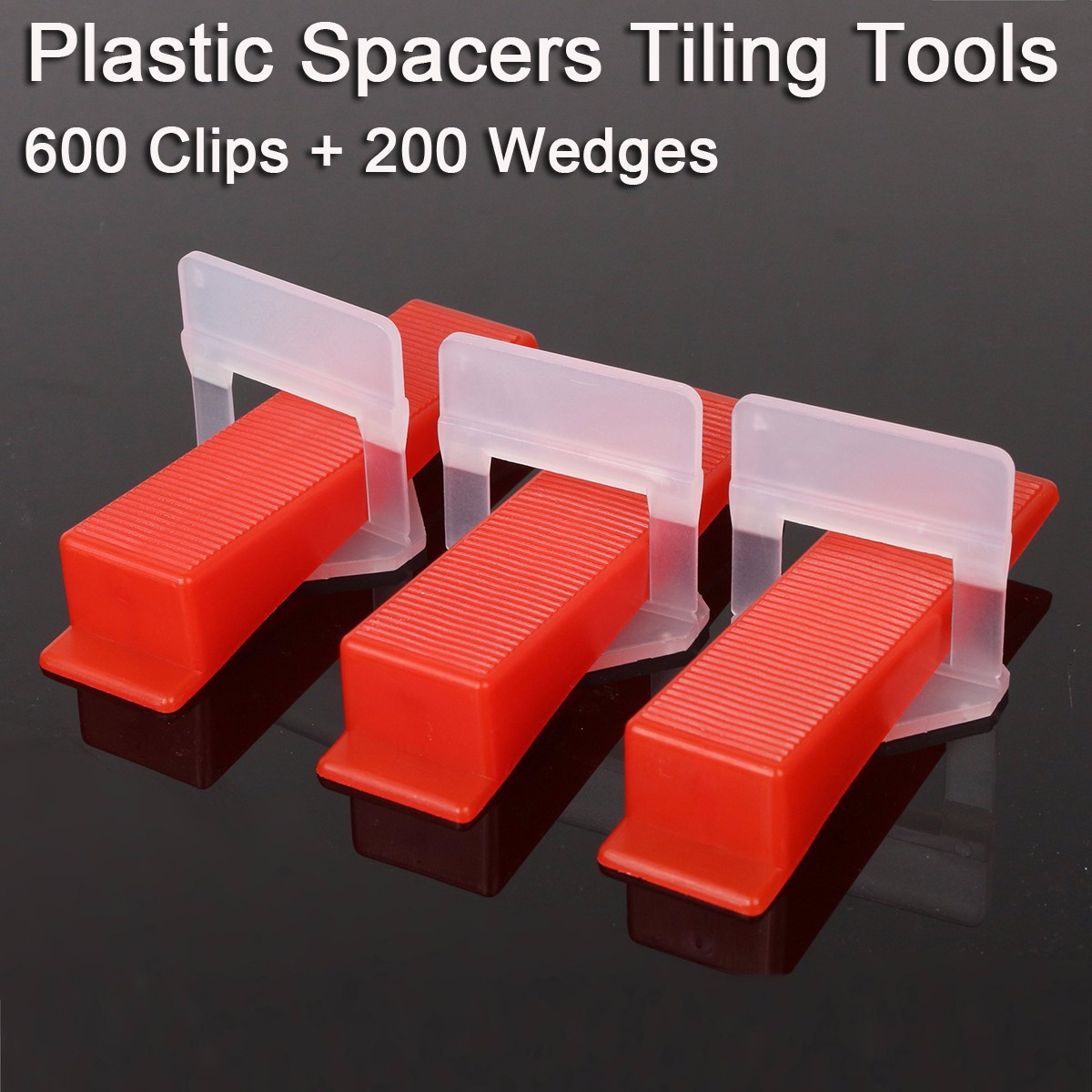 800 Tile Leveling System = 600 Clips + 200 Wedges - Plastic Spacers Tiling Tools Floor Wall Spacers