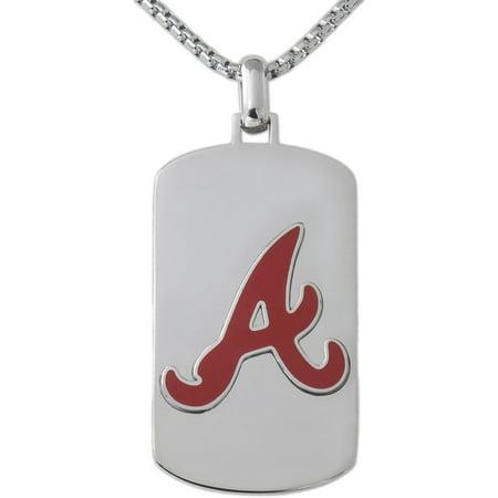 21448156228 MLB License Stainless Steel Atlanta Braves Dog Tag Logo Pendant, 22