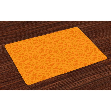 Halloween Placemats Set of 4 Monochrome Design with Traditional Halloween Themed Various Objects Pumpkin Bat Print, Washable Fabric Place Mats for Dining Room Kitchen Table Decor,Orange, by Ambesonne (Halloween Themed Names For Food)