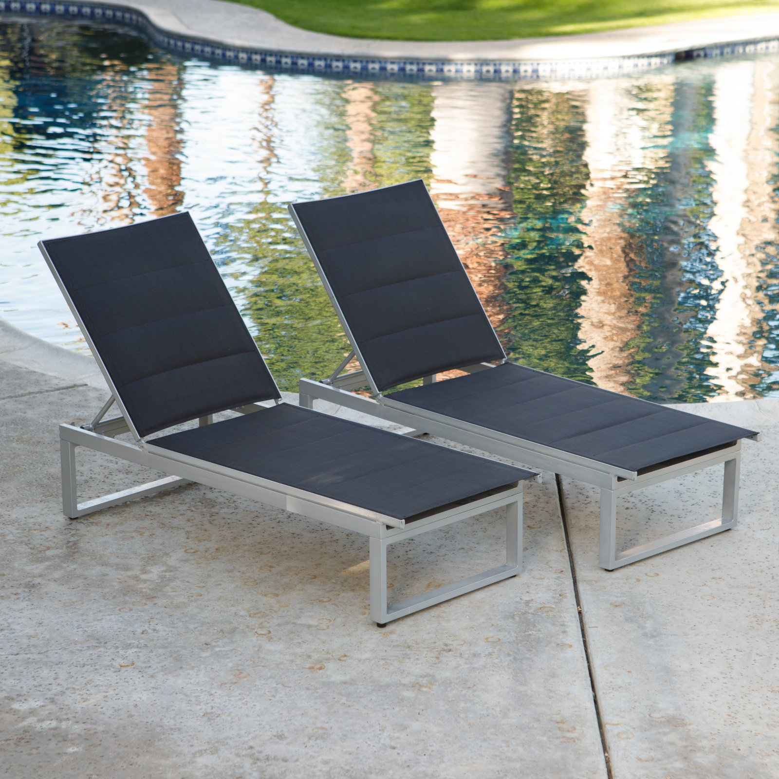 Coral Coast Southwick Padded Sling Outdoor Chaise Lounge - Set of 2