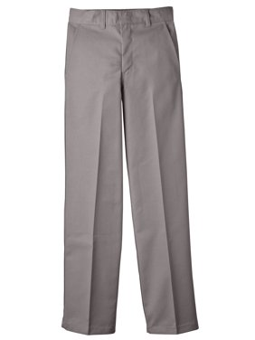 Genuine Dickies Boys School Uniform Classic Fit Straight Leg Flat Front Pants, Sizes 4-20 & Husky