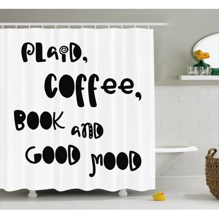 Book Shower Curtain Plaid Coffee And Good Mood Phrase In Vintage Typography Black