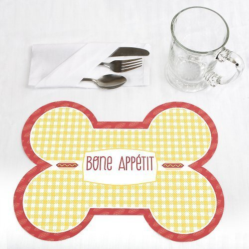 Summer BBQ Hot Diggity Dog Bone Shaped Dog Party Placemats Set of 12 by Big Dot of Happiness, LLC