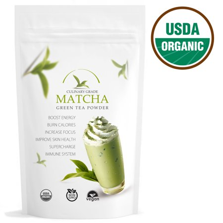Red Leaf Tea - Pure Matcha Traditional Green Tea Powder, Certified Organic, Culinary Grade, Antioxidants, Non-GMO, Vegan, Gluten and Sugar Free 16oz (Antioxidant Moisturizer White Tea)