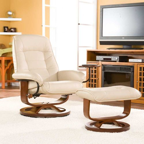 Hemphill Leather Recliner and Ottoman-Taupe