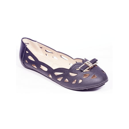 Women Ballerina Casual Flats, Perforated Slip Ons Shoes /w Bow Buckles - Colonial Shoe Buckles