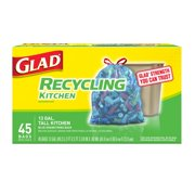 Glad Tall Kitchen Trash Bags, 13 Gallon, 45 Bags (Blue Recycling)