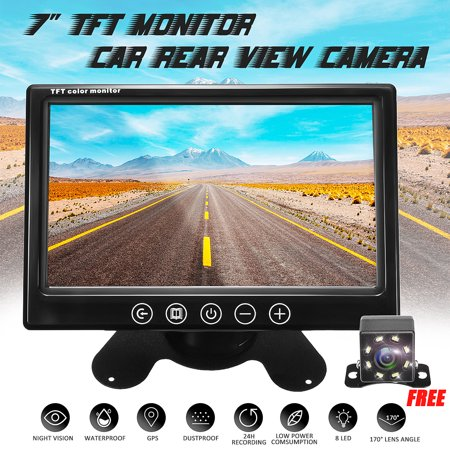 Rear View Backup Car Camera - TFT Screen Monitor System Parking and Reverse Assist Safety Waterproof & Night Vision, 7