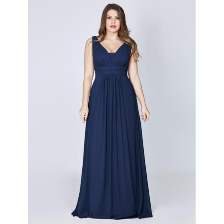 ea4a7a4621a Ever-pretty - Ever-Pretty Women s Elegant V Neck Long Formal Wedding Party  Evening Cocktail Gala Dresses for Women 8110P Navy Blue US 8 - Walmart.com