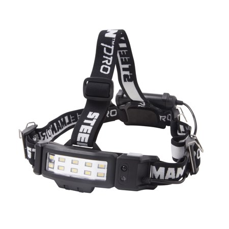 Power Headlamp (STEELMAN PRO 79052 Slim Profile LED 250-Lumen Motion Activated Headlamp with Rear Red Blinker, 3xAA battery)