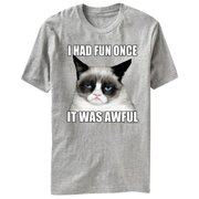 Grumpy Cat Cut Out Gray Heather Adult T-Shirt